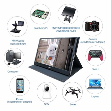 15,6 Zoll hdmi tragbarer Gaming Monitor, Ultra HD 1920 x 1080 IPS-LCD/LED-Anzeige, HDMI/USB-Schnittstellen,Spielmonitor,JOHNWILL - 4
