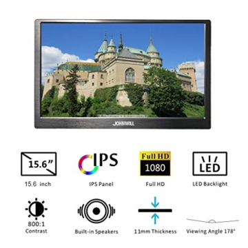 15,6 Zoll hdmi tragbarer Gaming Monitor, Ultra HD 1920 x 1080 IPS-LCD/LED-Anzeige, HDMI/USB-Schnittstellen,Spielmonitor,JOHNWILL - 5