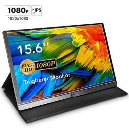 Tragbarer Monitor - 15,6 Zoll USB Monitor IPS Bildschirm Tragbar 1920×1080 Full-HD Portable Monitor mit USB-C / Typ-C Mini-HDMI für PC, Handy, Xbox, PS4 usw, mit Schutzhülle Displayschutz - 1