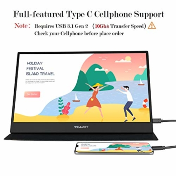 WIMAXIT 15,6 Zoll Tragbarer Monitor, USB-C Gaming Monitor Typ-C mit Mini-HDMI und Lautsprecher, Full HD 1920 x 1080, 16: 9-HDR-Monitor, Laptop-PC, Mac-Telefon, Xbox PS4, einschließlich Smart Cover - 2