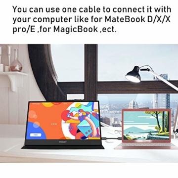 WIMAXIT 15,6 Zoll Tragbarer Monitor, USB-C Gaming Monitor Typ-C mit Mini-HDMI und Lautsprecher, Full HD 1920 x 1080, 16: 9-HDR-Monitor, Laptop-PC, Mac-Telefon, Xbox PS4, einschließlich Smart Cover - 3