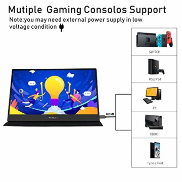 WIMAXIT 15,6 Zoll Tragbarer Monitor, USB-C Gaming Monitor Typ-C mit Mini-HDMI und Lautsprecher, Full HD 1920 x 1080, 16: 9-HDR-Monitor, Laptop-PC, Mac-Telefon, Xbox PS4, einschließlich Smart Cover - 5